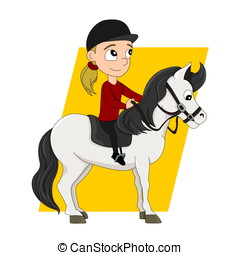 Horseback riding child cartoon - Illustration of a cute...