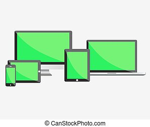 Ultimate web design electronic devices with empty green...