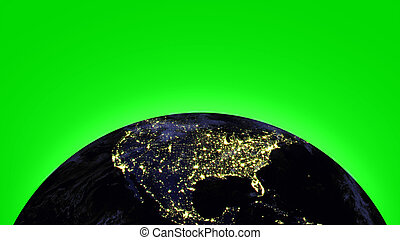 Earth in universe or space on green