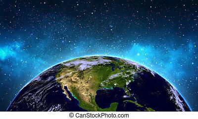 Earth in universe, space in nebula