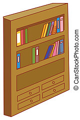 Bookcase - illustration drawing of a bookcase isolate in...