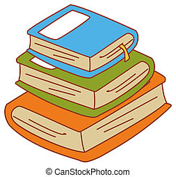 book - illustration drawing of a pile of books in white...