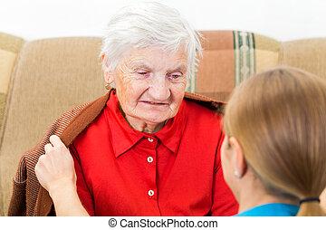 anciano, hogar, cuidado,
