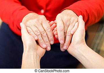 ajudando, mãos,