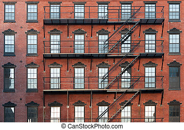 Apartment pattern - Old brownstone apartment building in...