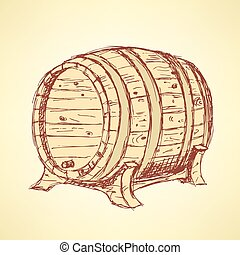 Sketch wine barrel in vintage style, vector