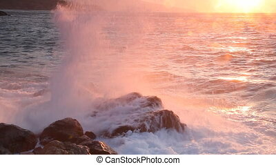 Beautiful sea landscape with waves