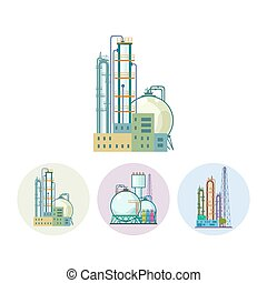 Set icons of a chemical plant or refinery processing, vector...