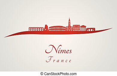 Nimes skyline in red and gray background in editable vector...