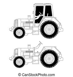 Agricultural machinery-tractor, vector