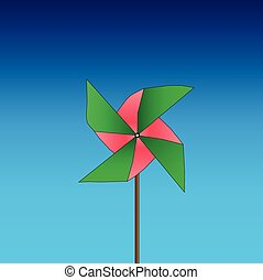 Bright colored pinwheel on blue background Vector...