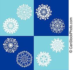 set of white snowflakes.