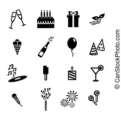 attributes of a holiday  black icons on white background