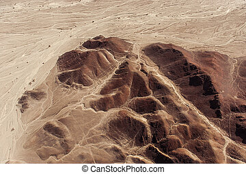 Nazca Lines and geoglyphs - Desert View Nazca birds-eye view...