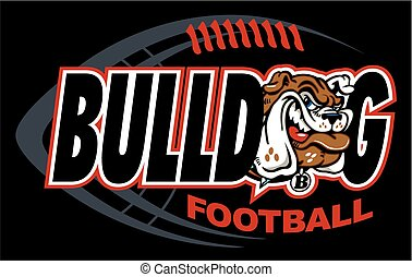 bulldog football design with mascot and football background