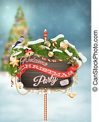 Wooden banner with Christmas Fur-tree branches.