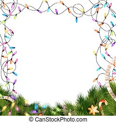 Christmas lights isolated on white. EPS 10