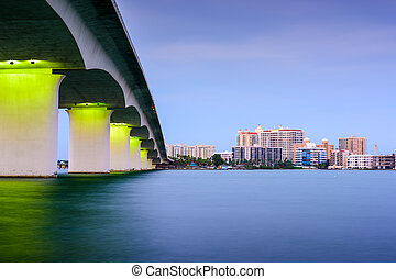 Sarasota, Florida, USA skyline at Sarasota Bay