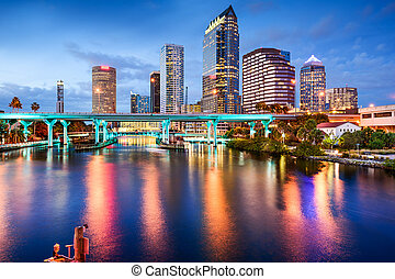 Tampa, Florida Skyline - Tampa, Florida, USA downtown city...
