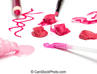 Lip makeup - Different colors of lip gloss, lipstick and lip...