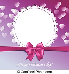 Valentine's card with a bow and hearts
