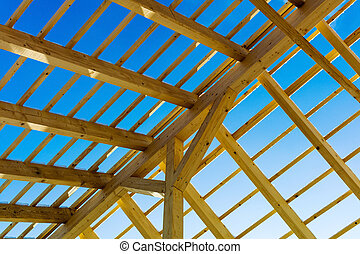 wooden roof construction, symbolic photo for home, house...