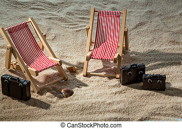 deck chair on the sandy beach - kkleine deck chairs on sandy...
