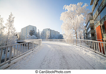 Cold fresh winter morning in city