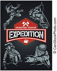 Rock climbing expedition Vector set - expeditions emblem and...