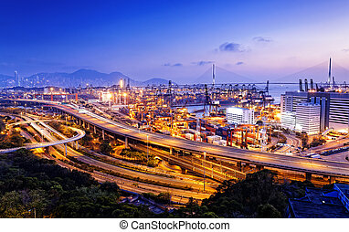 container terminal and stonecutter bridge in Hong Kong
