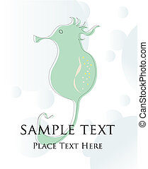 Seahorse - seahorse card illustration, vector art