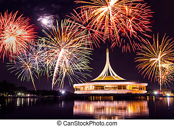 fireworks on rama nine park, thailand