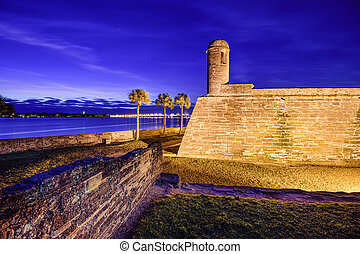 St Augustine, Florida Fort - St Augustine, Florida at the...