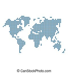 Dotted Blue World Map Isolated on White Vector illustration