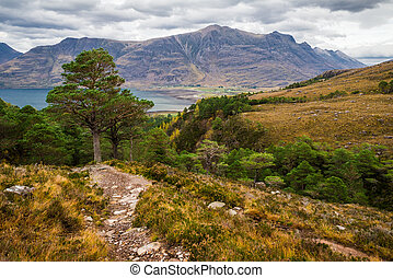 Dramatic view of beautiful Wester Ross mountains and Loch...