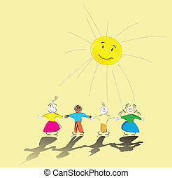 multiracial kids holding their hands and smiling sun