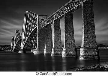 Black and white image of Firth of Forth Rail Bridge in South...