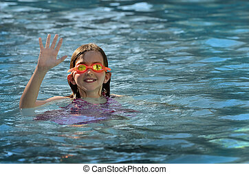 HapYoung Girl Swimming with Goggles