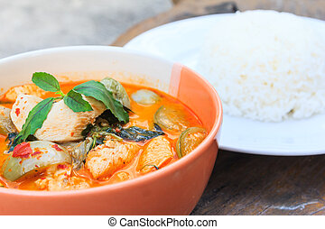 chicken red curry with rice, delicious thai cuisine