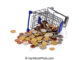 overturned trolley and scattered coins on a white background