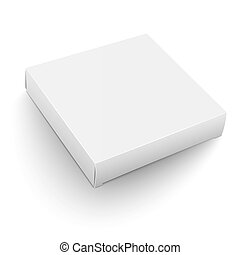 White square box template. - Blank flat square box template...