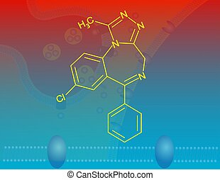 Alprazolam - Illustration of the alprazolam molecular...