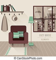 cozy house interior in flat design style