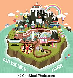 amusement park in flat design - amusement park elements on...