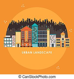 flat design style for urban landscape isolated over yellow