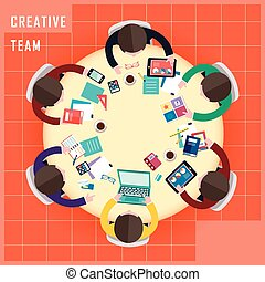 top view of creative team work in flat design style