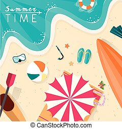 summer beach scenery illustration in flat design style