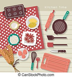 baking ingredients on kitchen table in flat design style