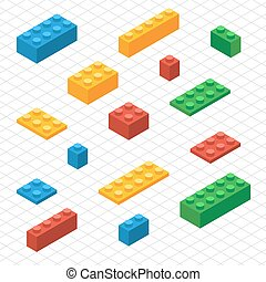 Do your self set of lego blocks in isometric view DIY vector...
