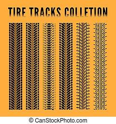 Tire track collection Vector illustration on yellow...